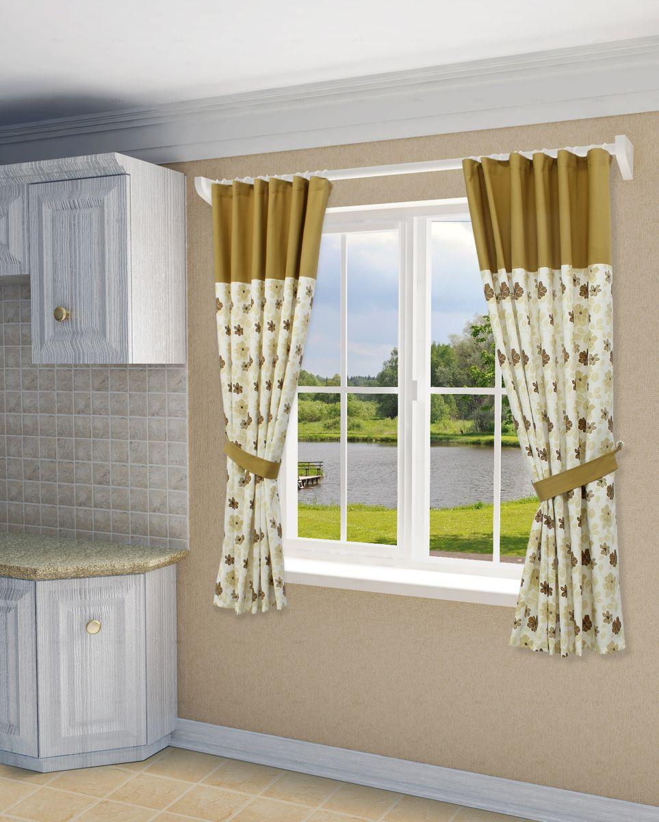 Комплект штор Sanpa Home Collection Мартина, на ленте, цвет: бежевый, коричневый, высота 180 смКШМАРТИНА(20) беж-коричневый, , 140*180-2шт+подх
