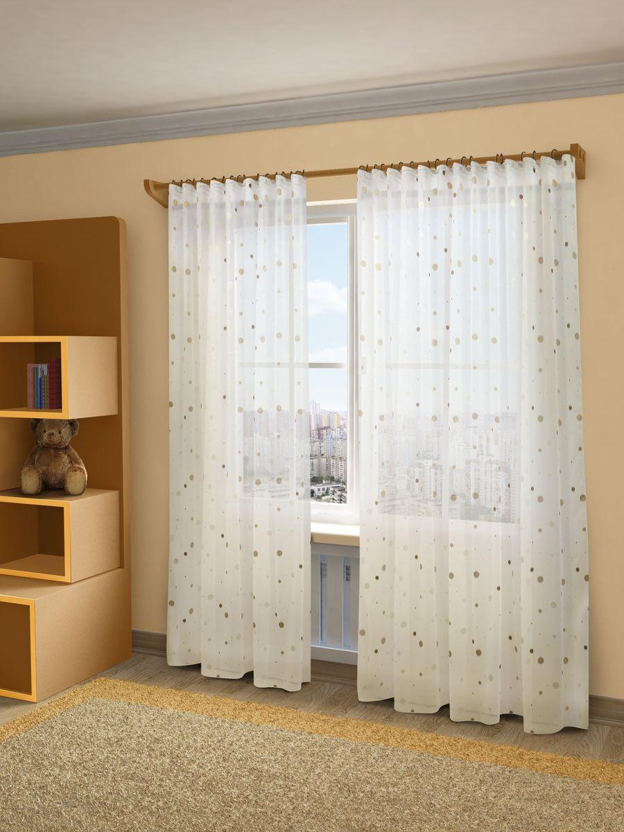 Тюль Sanpa Home Collection Джесика, на ленте, цвет: бежево-коричневый, высота 160 смHP70133/12/1E Джесика беже-коричн, , 300*160см