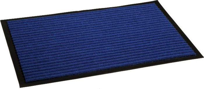 Коврик придверный InLoran Стандарт, влаговпитывающий, ребристый, цвет: синий, 50 х 80 см10-585Высота покрытия ~10 мм, иглопробивной петлевой ворс, удержание влаги и грязи на 1квадратный метр до 5 кг, материал изготовления - полиамид, винил
