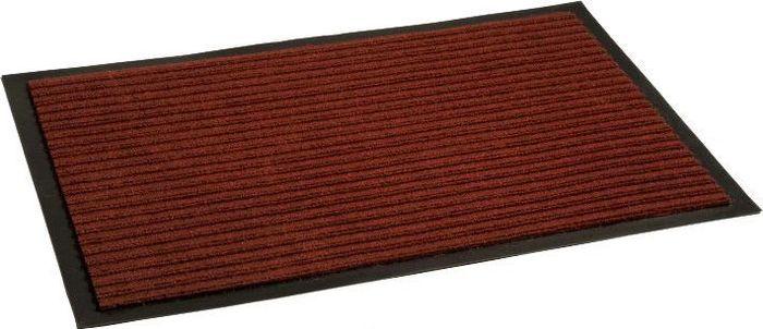 Коврик придверный InLoran Стандарт, влаговпитывающий, ребристый, цвет: красный, 40 х 60 см10-463Высота покрытия ~10 мм, иглопробивной петлевой ворс, удержание влаги и грязи на 1квадратный метр до 5 кг, материал изготовления - полиамид, винил