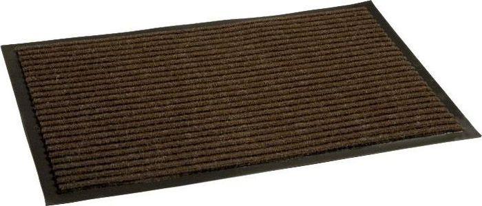 Коврик придверный InLoran Стандарт, влаговпитывающий, ребристый, цвет: коричневый, 50 х 80 см10-582Высота покрытия ~10 мм, иглопробивной петлевой ворс, удержание влаги и грязи на 1квадратный метр до 5 кг, материал изготовления - полиамид, винил