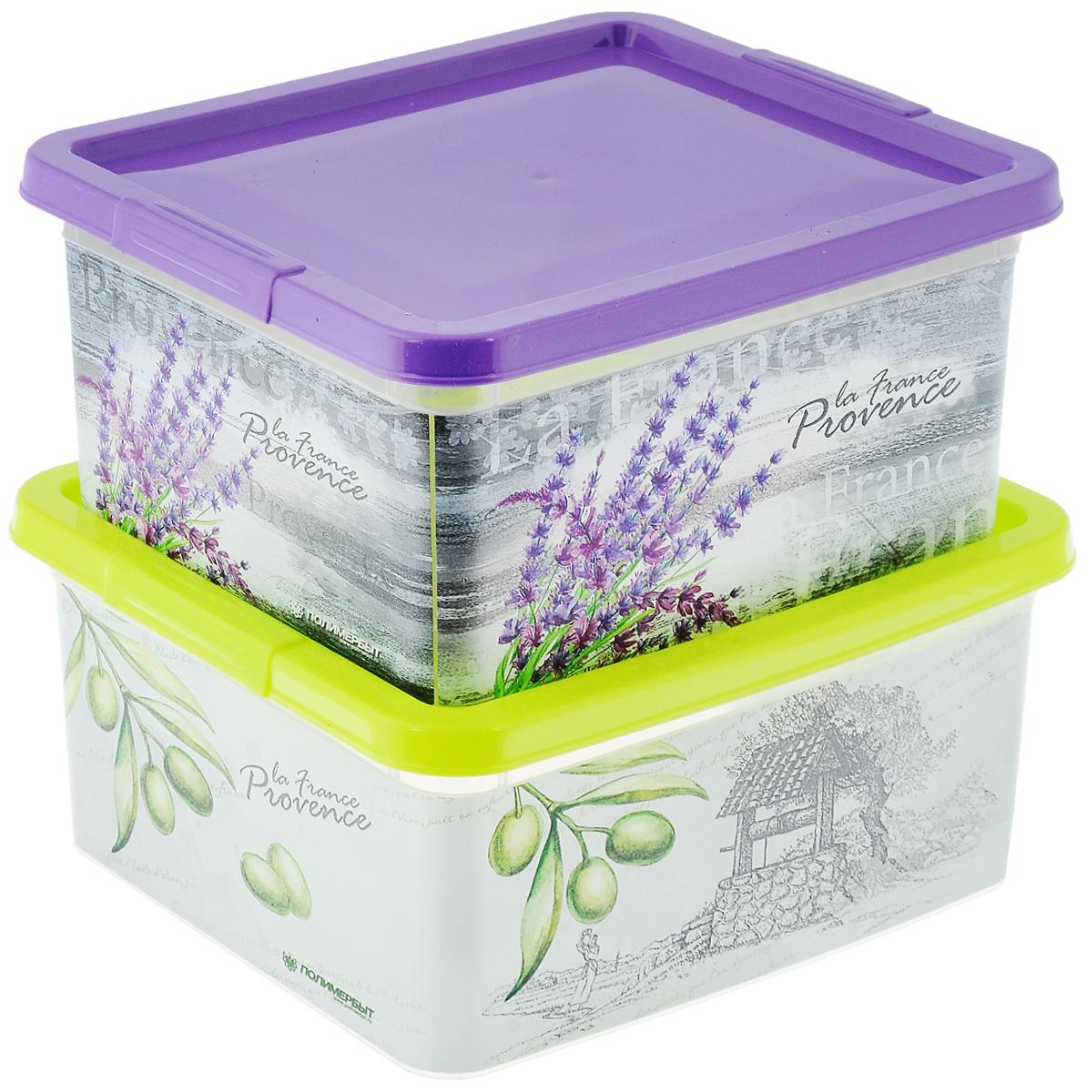 Набор контейнеров Полимербыт Прованс, 2 штSGHPBKP92Набор Полимербыт Прованс, состоящий из двух контейнеров, выполнен из высококачественного цветного пластика и декорирован оригинальными принтами. Изделия оснащены крышками. Контейнеры очень вместительные и помогут вам хранить все необходимые мелочи в одном месте. Размер контейнеров: 19 х 16 х 9 см.