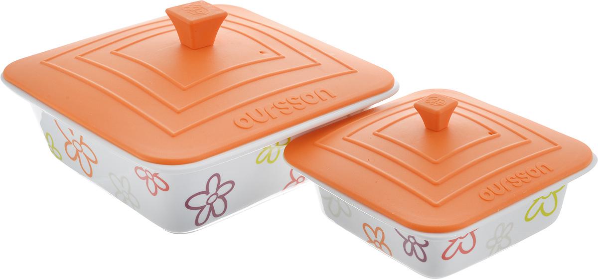 """Набор форм для приготовления Oursson """"Цветы"""", с крышкой, цвет: оранжевый, 2 предмета"""