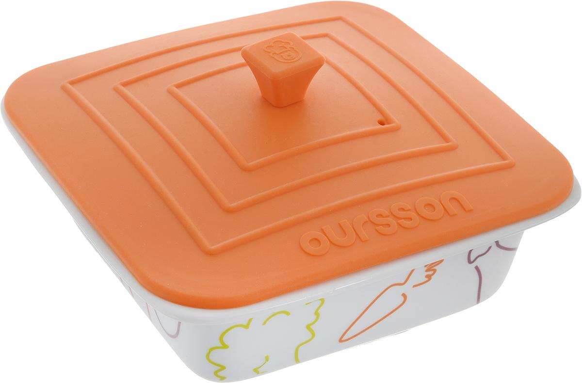 Форма для запекания Oursson Овощи, с силиконовой крышкой, цвет: оранжевый, белый, 18 х 17,5 х 6,5 смBW1907C/ORФорма для запекания пищи Oursson Овощи, изготовленная из керамики с силиконовой крышкой, идеально подойдет для приготовления мяса, рыбы, овощей и десертов без добавления масла.ё Такую форму можно использовать в духовке, микроволновой печи и холодильнике, мыть в посудомоечной машине. Температура использования силиконовой крышки может доходить до 220°С, а формы до 250°С Силиконовая крышка дополнена небольшим вентиляционным отверстием. Можно использовать в посудомоечной машине. Яркая и красивая, она украсит любой стол и выгодно подчеркнет достоинства ваших блюд. Объем: 0,66 л. Размер формы (без учета крышки): 18 х 17,5 х 6,5 см. Размер крышки: 17,5 х 17,5 см.