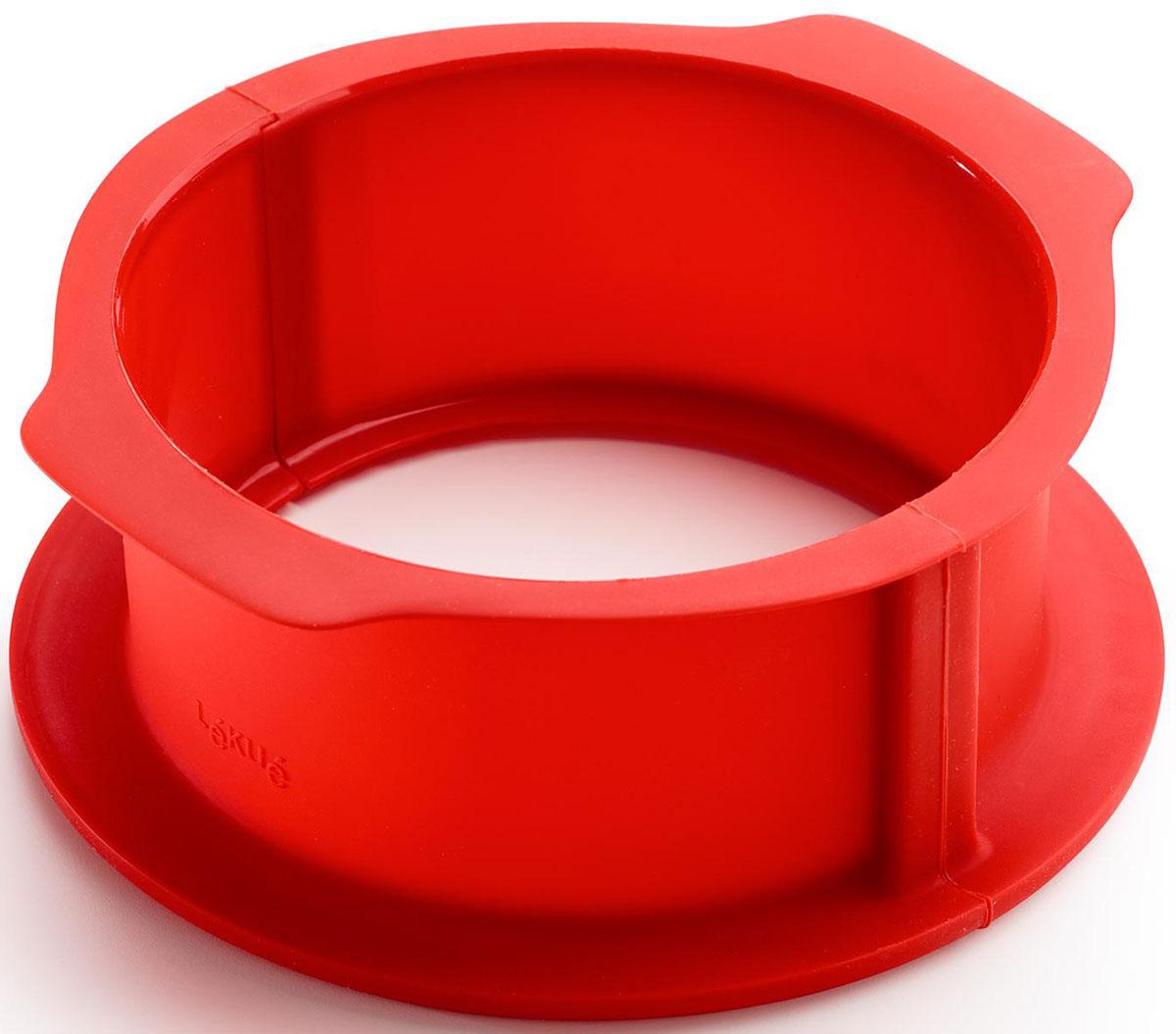 Форма для выпечки Lekue Торт Шарлотт, разъемная, силиконовая, с керамическим блюдом, цвет: красный2412238R01M017Разъемная форма силиконовая с керамическим блюдом - идеальное сочетание силикона и керамики для быстрого и надежного отделения вашего киша, паштета, мусса или торта от формы.