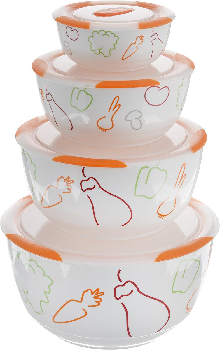 Набор мисок Oursson Bon Appetit, с крышками, цвет: оранжевый, белый, 4 штBS5980RC/ORНабор Oursson состоит из четырех мисок разного размера, выполненных из керамики и оформленных рисунком. Керамика, из которой изготовлены емкости, выдерживает температуру до 250°С, поэтому подать блюда на стол можно сразу после приготовления в микроволновой печи или духовом шкафу. Миски снабжены плотно закрывающимися пластиковыми крышками с технологией Clip Fresh. Такой набор прекрасно подходит для хранения продуктов и соусов без проливания, которые не прольются при переноске благодаря силиконовому уплотнителю, обеспечивающему 100% герметичность. Миски являются универсальным приобретением для любой кухни. С их помощью можно готовить блюда, хранить продукты и даже сервировать стол. Оригинальный дизайн, высокое качество и функциональность набора Oursson позволят ему стать достойным дополнением к вашему кухонному инвентарю. Можно мыть в посудомоечной машине. Характеристика емкости №1: Объем: 3 л. Высота стенки: 11,3 см. ...