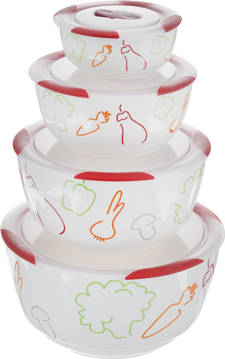 Набор мисок Oursson Bon Appetit, с крышками, цвет: темная вишня, белый, 4 штBS5980RC/DCНабор Oursson состоит из четырех мисок разного размера, выполненных из керамики и оформленных рисунком. Керамика, из которой изготовлены емкости, выдерживает температуру до 250°С, поэтому подать блюда на стол можно сразу после приготовления в микроволновой печи или духовом шкафу. Миски снабжены плотно закрывающимися пластиковыми крышками с технологией Clip Fresh. Такой набор прекрасно подходит для хранения продуктов и соусов без проливания, которые не прольются при переноске благодаря силиконовому уплотнителю, обеспечивающему 100% герметичность. Миски являются универсальным приобретением для любой кухни. С их помощью можно готовить блюда, хранить продукты и даже сервировать стол. Оригинальный дизайн, высокое качество и функциональность набора Oursson позволят ему стать достойным дополнением к вашему кухонному инвентарю. Можно мыть в посудомоечной машине. Характеристика емкости №1: Объем: 3 л. Высота стенки: 11,3 см. ...