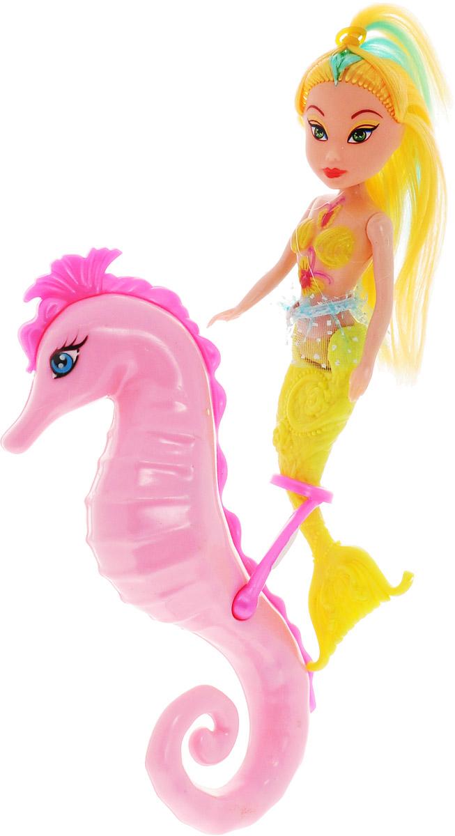 Veld-Co Игровой набор с мини-куклой Русалка и морской конек цвет желтый розовый