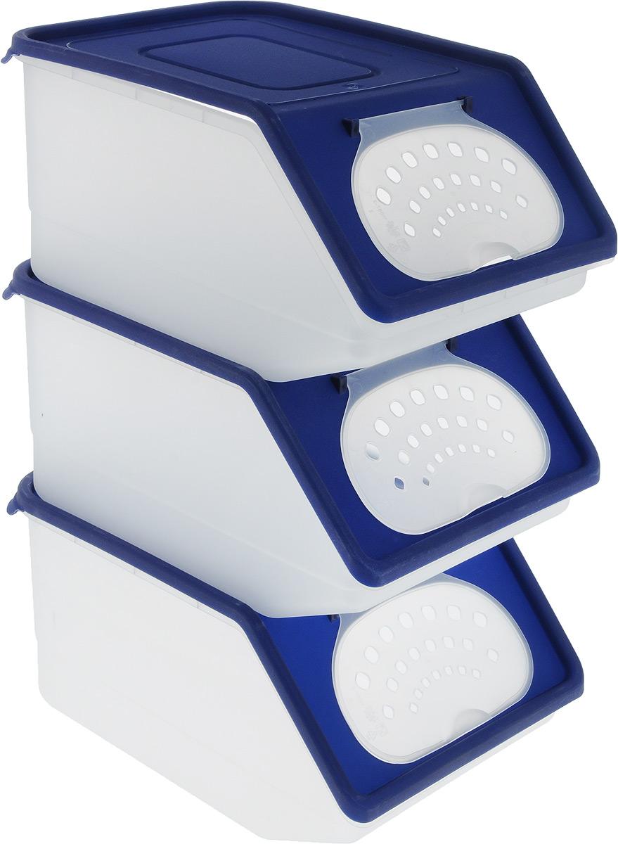 """Набор контейнеров для хранения овощей """"Полимербыт"""", цвет: белый, темно-синий, 3 шт"""