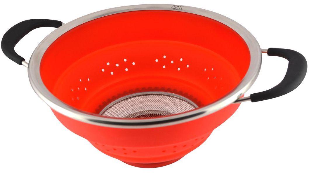 "Дуршлаг ""Stahlberg"", складной, цвет: красный, диаметр 25 см"