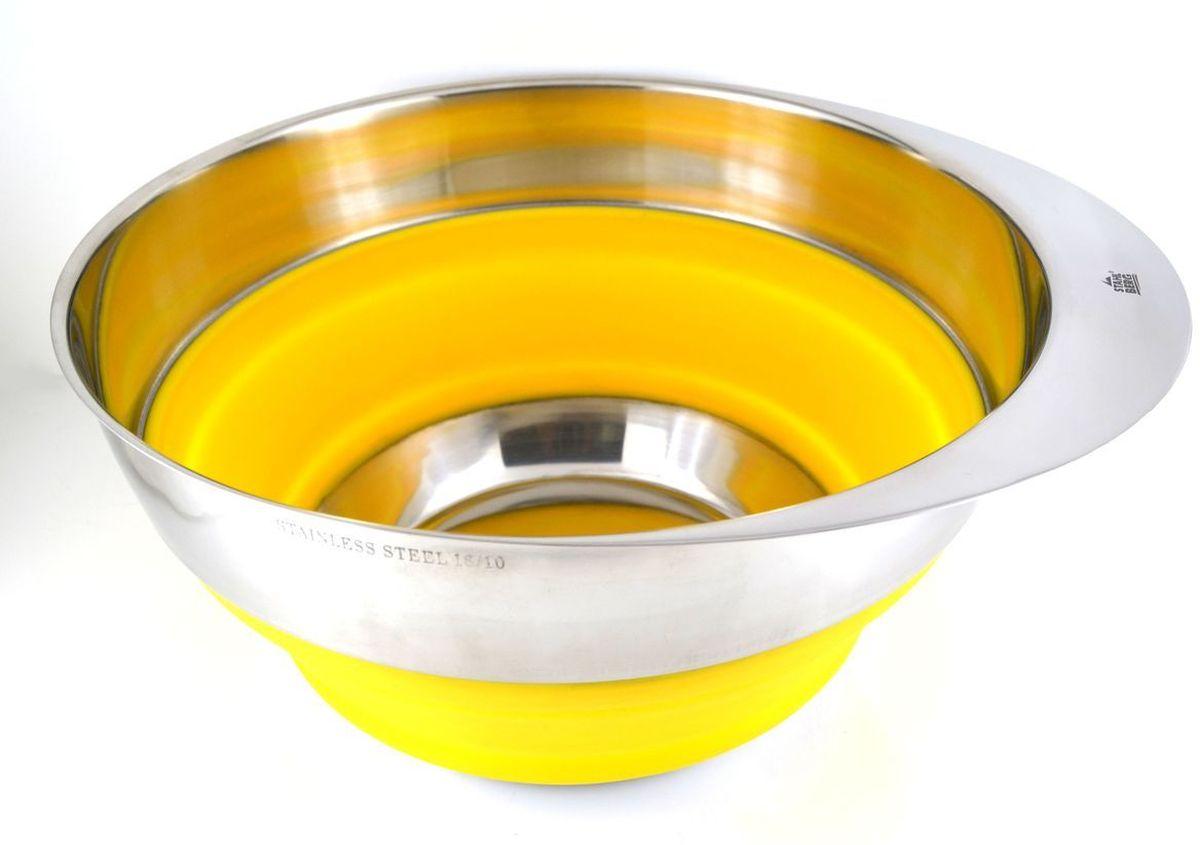 Миска Stahlberg, складная, цвет: желтый, диаметр 25,4 см2606-SПосуда STAHLBERG изготовлена только из качественных, экологически чистых материалов. Также уделяется особое внимание дизайну продукции, способному удовлетворять вкусы даже самых взыскательных покупателей. Сталь 8/10, из которой изготавливается посуда и аксессуары STAHLBERG, является уникальной. Она отличается высокими эксплуатационными характеристиками и крайне устойчива к физическим воздействиям. Сложно найти более подходящий для создания качественной кухонной посуды материал. Отличительной чертой металлической посуды, выполненной из подобной стали, является характерный сероватый оттенок поверхности и особый блеск. Это позволяет приготовить более здоровую пищу.