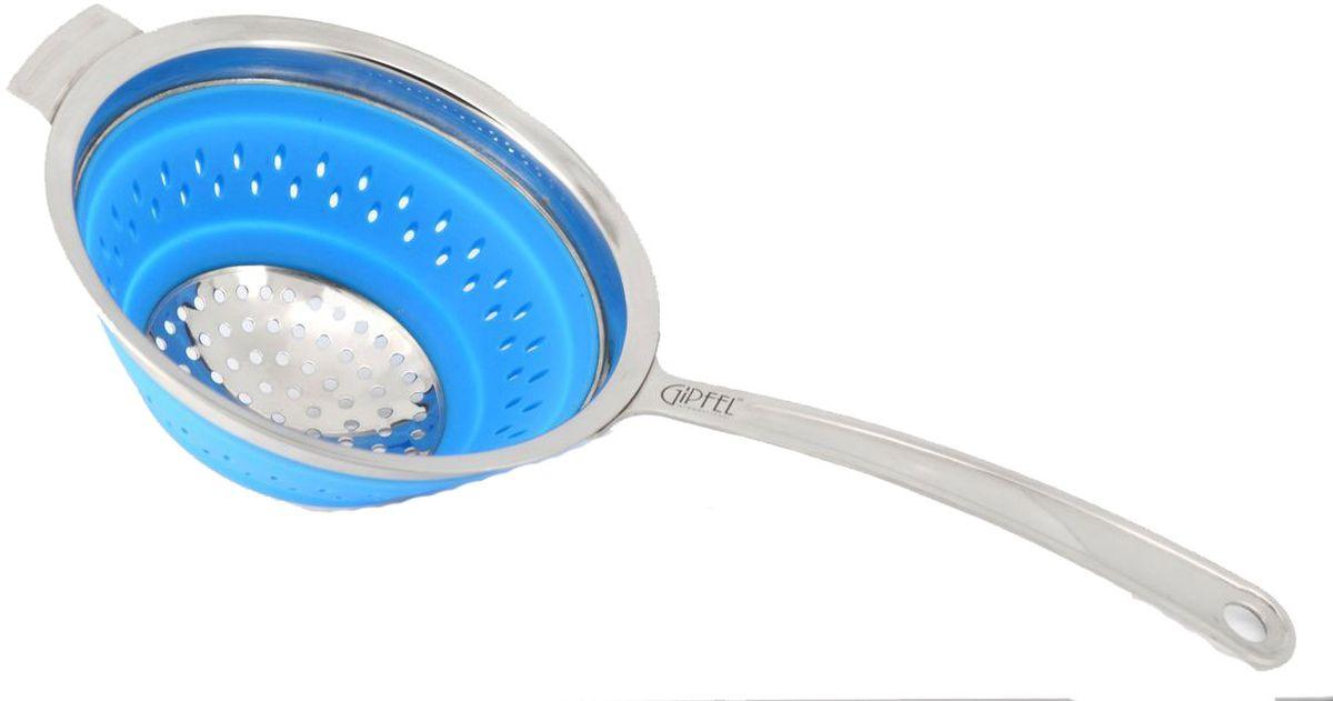 Дуршлаг Gipfel, складной, цвет: синий, диаметр 16 см2608Посуда Gipfel изготовлена только из качественных, экологически чистых материалов. Также уделяется особое внимание дизайну продукции, способному удовлетворять вкусы даже самых взыскательных покупателей. Сталь 8/10, из которой изготавливается посуда и аксессуары Gipfel, является уникальной. Она отличается высокими эксплуатационными характеристиками и крайне устойчива к физическим воздействиям. Сложно найти более подходящий для создания качественной кухонной посуды материал. Отличительной чертой металлической посуды, выполненной из подобной стали, является характерный сероватый оттенок поверхности и особый блеск. Это позволяет приготовить более здоровую пищу.