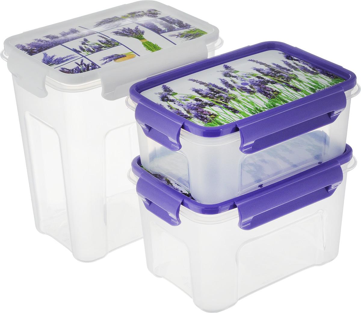 Набор контейнеров для СВЧ Полимербыт Лаванда, с крышками, 3 штSGHPBKP102Набор Полимербыт Лаванда состоит из трех прямоугольных контейнеров для СВЧ, изготовленных из высококачественного пищевого пластика, который выдерживает температуру от -40°С до +110°С. Стенки изделий прозрачные. Контейнеры оснащены крышками, оформленными цветочными изображениями, которые плотно закрываются на 4 защелки, дольше сохраняя продукты свежими и вкусными. Емкости удобно брать с собой на работу, учебу, пикник или просто использовать для хранения пищи в холодильнике. Можно использовать в микроволновой печи. Можно мыть в посудомоечной машине. Объем контейнеров: 0,75 л; 1,1 л; 1,8 л. Размер контейнеров (по верхнему краю): 15,5 см х 11 см. Высота (без учета крышки): 6,5 см; 9,5 см; 17 см.