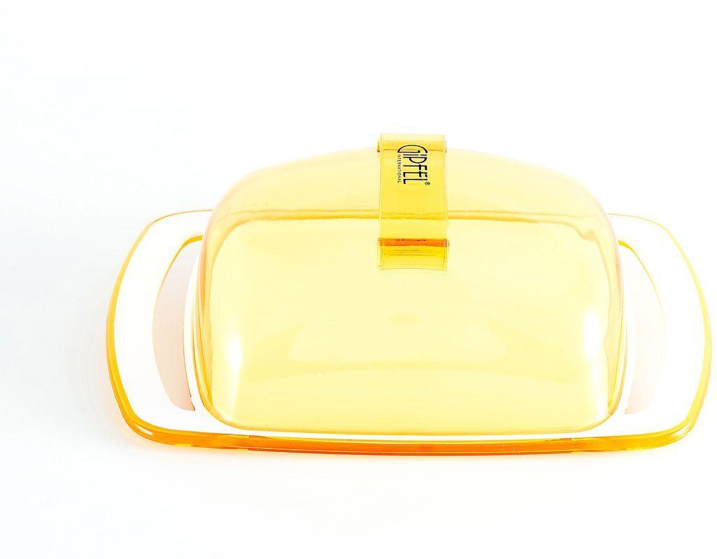 Масленка Gipfel Arco, цвет: желтый, белый, 18,5 х 11,8 х 6,7 см3748Посуда Gipfel изготовлена только из качественных, экологически чистых материалов. Также уделяется особое внимание дизайну продукции, способному удовлетворять вкусы даже самых взыскательных покупателей. Сталь 8/10, из которой изготавливается посуда и аксессуары Gipfel, является уникальной. Она отличается высокими эксплуатационными характеристиками и крайне устойчива к физическим воздействиям. Сложно найти более подходящий для создания качественной кухонной посуды материал. Отличительной чертой металлической посуды, выполненной из подобной стали, является характерный сероватый оттенок поверхности и особый блеск. Это позволяет приготовить более здоровую пищу.