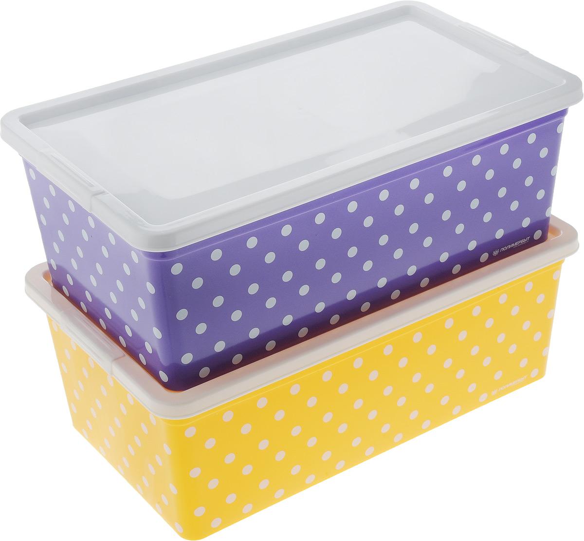 Набор контейнеров для хранения Полимербыт Горох, цвет: фиолетовый, желтый, белый, 2 штSGHPBKP73Набор Полимербыт Горох состоит из двух контейнеров, которые выполнены из высококачественного пластика. Изделия оформлены принтом в горох. Контейнеры оснащены крышками, которые плотно закрывают изделия. Контейнеры очень вместительные и помогут вам хранить все необходимые мелочи в одном месте. Размер контейнера: 34 х 19 см. Высота контейнера: 12 см.