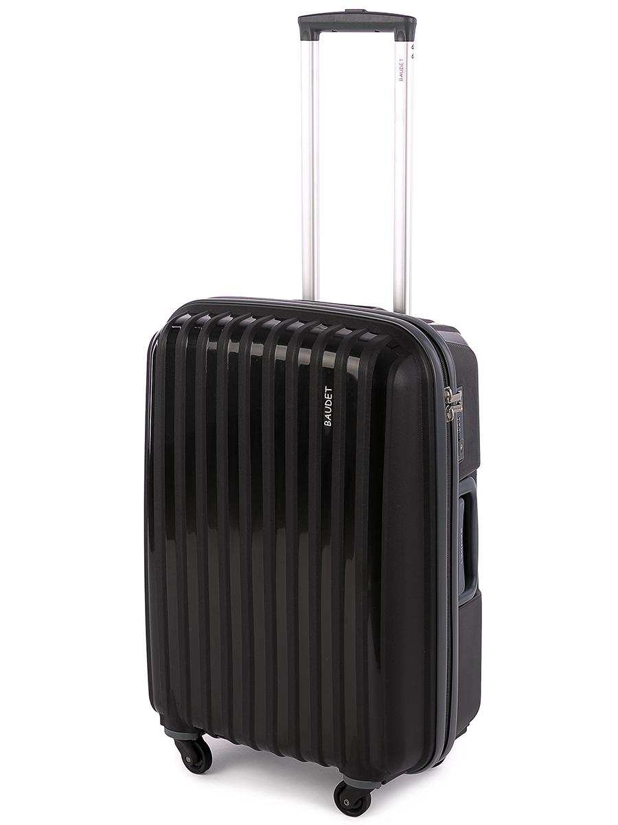 Чемодан Baudet, цвет: черный, 70х50х28 см, 98лBHL0708801Чемодан пластиковый на четырех колесах, черный/т.серый 70 см