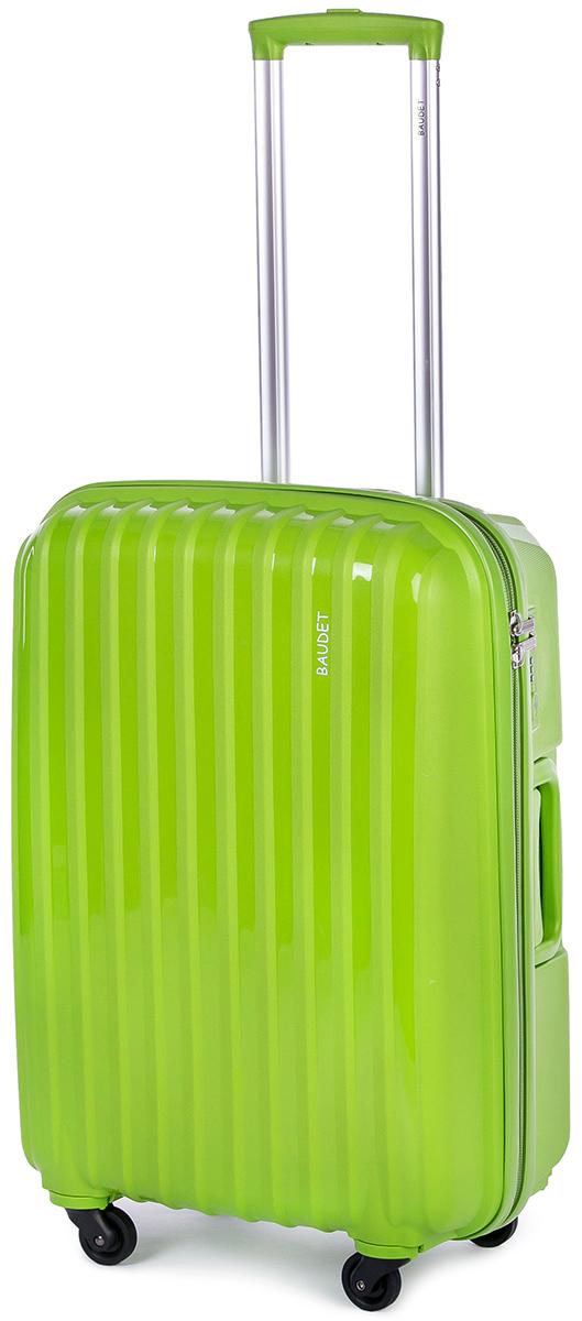 Чемодан Baudet, цвет: зеленый, 60х42х24 см, 60лBHL0708801-60Чемодан Baudet надежный и практичный в путешествии. Выполнен из прочного и ударостойкого полипропилена, материал внутренней отделки - полиэстеровая ткань серого цвета. Чемодан содержит продуманную внутреннюю организацию. Имеется одно большое отделение, которое закрывается по периметру на застежку-молнию . Внутри содержатся два больших отдела для хранения одежды с перекрещивающимися Для легкой и удобной перевозки чемодан оснащен четырьмя колесами вращающимися на 360 градусов. Телескопическая ручка выдвигается нажатием на кнопку и фиксируется в двух положениях. Сверху и сбоку предусмотрены ручки для поднятия чемодана. Гарантия на чемодан 2 года. Чемодан оснащен кодовым замком TSA, который исключает возможность взлома. Отверстие для ключа в кодовом замке предназначено для работников таможни (открытие багажа для досмотра без присутствия хозяина). Ключ находится только у таможни и в комплекте с чемоданом не идет.