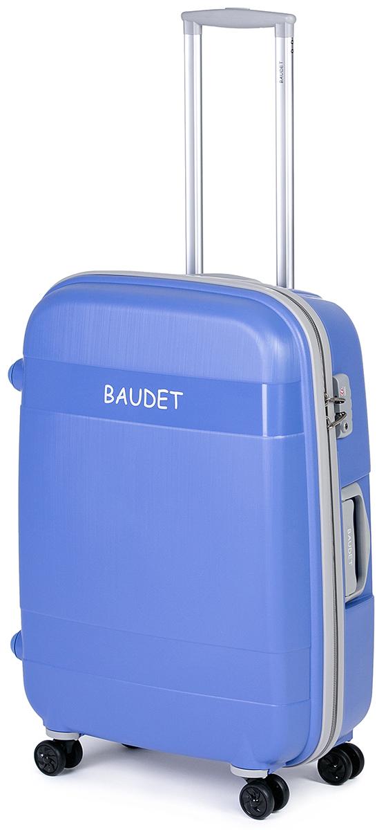 Чемодан Baudet, цвет: голубой, 75х55х30 см, 123лBHL0708802-75Чемодан Baudet надежный и практичный в путешествии. Выполнен из прочного и ударостойкого полипропилена, материал внутренней отделки - полиэстеровая ткань серого цвета. Чемодан содержит продуманную внутреннюю организацию. Имеется одно большое отделение, которое закрывается по периметру на застежку-молнию . Внутри содержатся два больших отдела для хранения одежды с перекрещивающимися Для легкой и удобной перевозки чемодан оснащен четырьмя колесами вращающимися на 360 градусов. Телескопическая ручка выдвигается нажатием на кнопку и фиксируется в двух положениях. Сверху и сбоку предусмотрены ручки для поднятия чемодана. Гарантия на чемодан 2 года. Чемодан оснащен кодовым замком TSA, который исключает возможность взлома. Отверстие для ключа в кодовом замке предназначено для работников таможни (открытие багажа для досмотра без присутствия хозяина). Ключ находится только у таможни и в комплекте с чемоданом не идет.