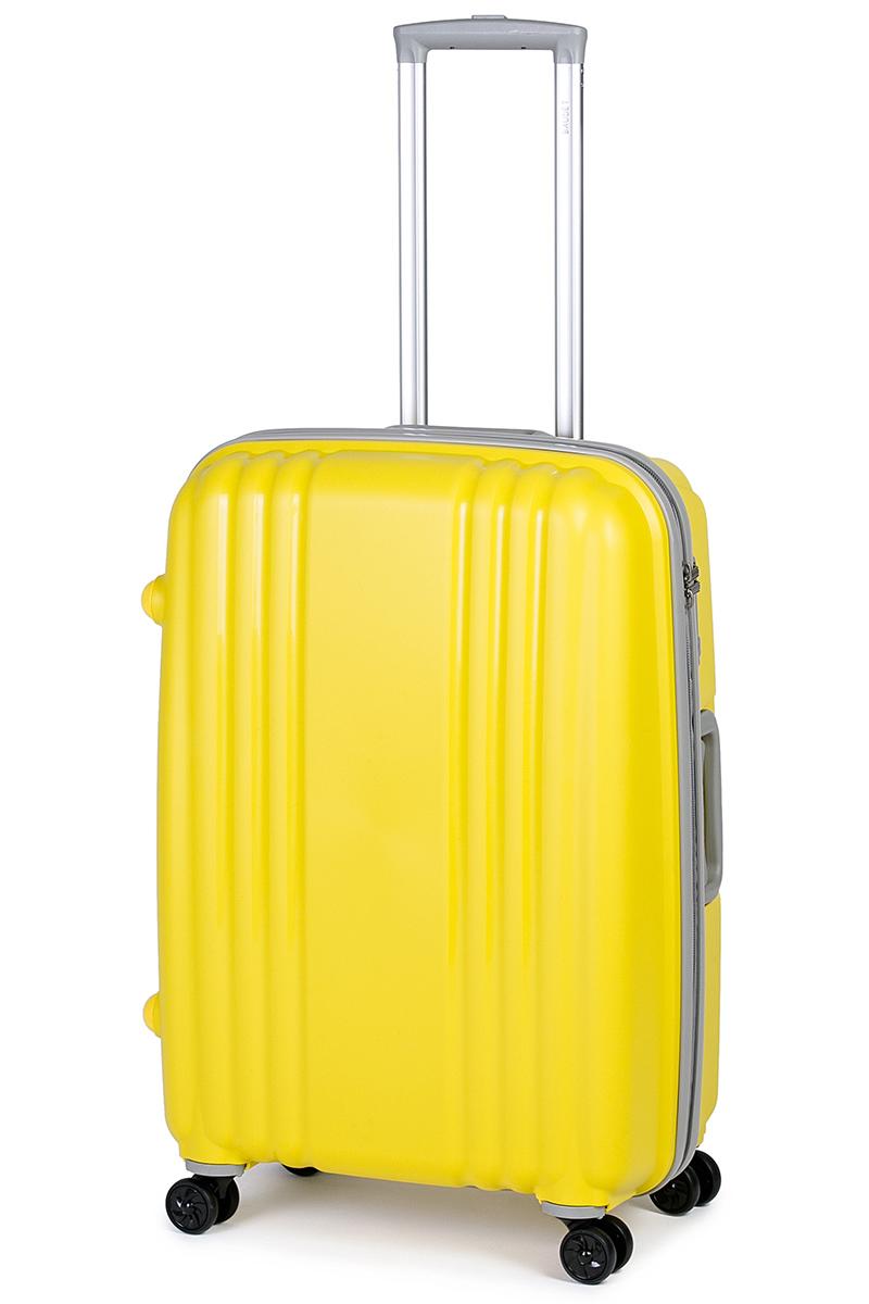 Чемодан Baudet, цвет: желтый, 65х45х25 см, 73лBHL0708803-65Чемодан на колесах, желтый/серый, 65 см