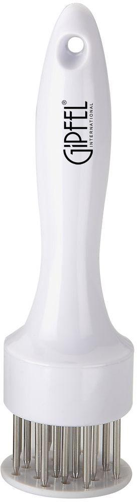 Тендерайзер Gipfel, цвет: белый, длина 19 см6280Посуда Gipfel изготовлена только из качественных, экологически чистых материалов. Также уделяется особое внимание дизайну продукции, способному удовлетворять вкусы даже самых взыскательных покупателей. Сталь 8/10, из которой изготавливается посуда и аксессуары Gipfel, является уникальной. Она отличается высокими эксплуатационными характеристиками и крайне устойчива к физическим воздействиям. Сложно найти более подходящий для создания качественной кухонной посуды материал. Отличительной чертой металлической посуды, выполненной из подобной стали, является характерный сероватый оттенок поверхности и особый блеск. Это позволяет приготовить более здоровую пищу.