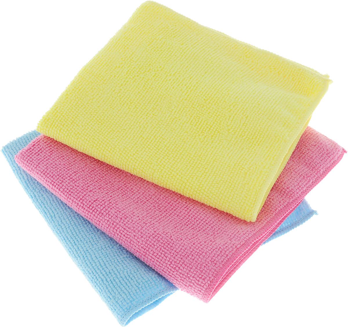 Набор салфеток для уборки Sol, из микрофибры, 30 x 30 см, 3 шт10035_розовый/голубой/желтыйНабор салфеток Sol выполнен из микрофибры. Микрофибра - это ткань из тонких микроволокон, которая эффективно очищает поверхности благодаря капиллярному эффекту между ними. Такая салфетка может использоваться как для сухой, так и для влажной уборки. Деликатно очищает любые поверхности, не оставляя следов и разводов. Идеально подходит для протирки полированной мебели. Сохраняет свои свойства после стирки. Размер салфетки: 30 х 30 см.