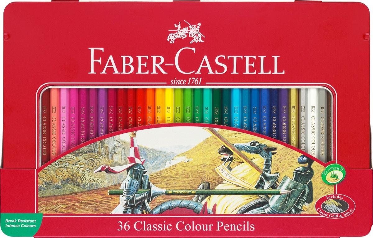 Faber-Castell Набор цветных карандашей Рыцарь 36 шт115846Набор цветных карандашей Faber-Castell Рыцарь - великолепный подарок для юных художников! В наборе ваш ребенок найдет 36 карандашей из мягкого дерева, которые легко поддаются заточке. Карандаши ярких оттенков позволяют достигать четкости контуров, насыщенности штриховки и многообразия полутонов. Классический шестигранный корпус карандаша очень удобен для детей, в том числе пишущих левой рукой. Грифель, даже при падении карандаша, не ломается, благодаря особой технологии SV вклеивания. Канцелярские товары немецкого производителя Faber Castell - это великолепное европейское качество и отличный подарок творческому ребенку!