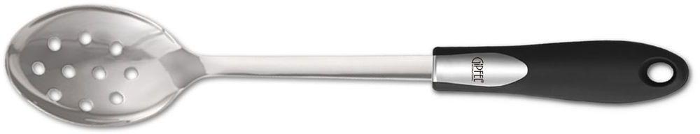 Ложка сервировочная Gipfel Orbit, с отверстиями6584Посуда Gipfel изготовлена только из качественных, экологически чистых материалов. Также уделяется особое внимание дизайну продукции, способному удовлетворять вкусы даже самых взыскательных покупателей. Сталь 8/10, из которой изготавливается посуда и аксессуары Gipfel, является уникальной. Она отличается высокими эксплуатационными характеристиками и крайне устойчива к физическим воздействиям. Сложно найти более подходящий для создания качественной кухонной посуды материал. Отличительной чертой металлической посуды, выполненной из подобной стали, является характерный сероватый оттенок поверхности и особый блеск. Это позволяет приготовить более здоровую пищу.