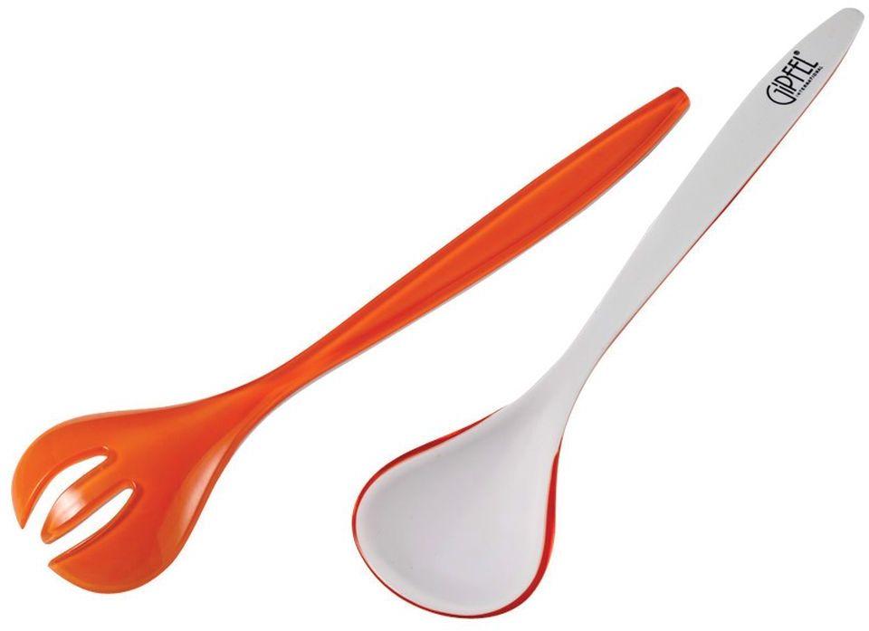 Набор приборов для салата Gipfel, цвет: оранжевый9407Посуда Gipfel изготовлена только из качественных, экологически чистых материалов. Также уделяется особое внимание дизайну продукции, способному удовлетворять вкусы даже самых взыскательных покупателей. Сталь 8/10, из которой изготавливается посуда и аксессуары Gipfel, является уникальной. Она отличается высокими эксплуатационными характеристиками и крайне устойчива к физическим воздействиям. Сложно найти более подходящий для создания качественной кухонной посуды материал. Отличительной чертой металлической посуды, выполненной из подобной стали, является характерный сероватый оттенок поверхности и особый блеск. Это позволяет приготовить более здоровую пищу.
