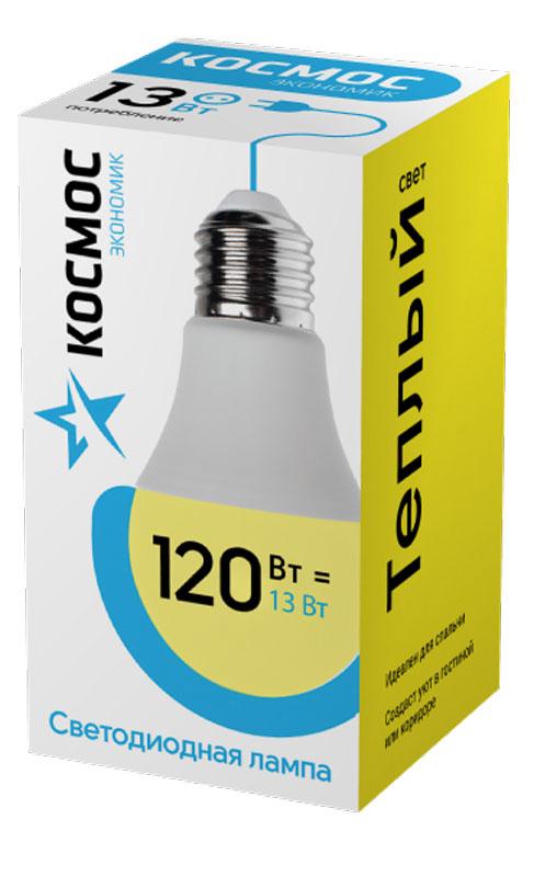 Лампа светодиодная Космос Экономик, 220V, А60, теплый свет, цоколь Е27, 13WLkecLED13wA60E2730Светодиодная лампа КОСМОС Замена стандартных ламп накаливания 120W Модель: А60 (ГРУША) Цоколь: Стандарт (Е27) Потребляемая мощность: 13W Световой поток, лм: 1150 Светодиоды: LED SMD 2835 Чип: Epistar Индекс цветопередачи: Ra>70 Напряжение: 220V Угол, град: 270 Размер лампы (мм): 60 х 110 Срок службы до 25 000 часов Температура использования -40+40С Цветность – 3000K Специальные возможности/особенности: СВЕТОДИОДНАЯ ЛАМПА А60 ( ГРУША ) 13 Вт серии Космос Экономик является аналогом лампы накаливания 120 Вт. В основе лампы используются чипы от мирового лидера Epistar- что обеспечивает надежную и стабильную работу в течение всего срока службы (25 000 часов). До 90% экономии энергии по сравнению с обычной лампой накаливания (сопоставимы по размеру); стабильный световой поток в течение всего срока службы; экологическая безопасность (не содержит ртути и тяжелых металлов); мягкое и равномерное распределение света повышает зрительный комфорт...