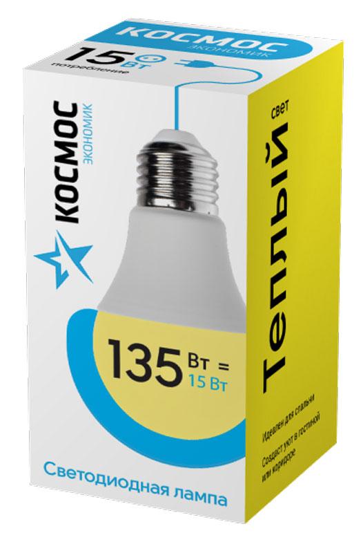 Лампа светодиодная Космос Экономик, 220V, А60, теплый свет, цоколь Е27, 15WLkecLED15wA60E2730Светодиодная лампа КОСМОС Замена стандартных ламп накаливания 135W Модель: А60 (ГРУША) Цоколь: Стандарт (Е27) Потребляемая мощность: 15W Световой поток, лм: 1500 Светодиоды: LED SMD 2835 Чип: Epistar Индекс цветопередачи: Ra>70 Напряжение: 220V Угол, град: 270 Размер лампы (мм): 60 х 110 Срок службы до 25 000 часов Температура использования -40+40С Цветность – 3000K Специальные возможности/особенности: СВЕТОДИОДНАЯ ЛАМПА А60 ( ГРУША ) 15 Вт серии Космос Экономик является аналогом лампы накаливания 135 Вт. В основе лампы используются чипы от мирового лидера Epistar- что обеспечивает надежную и стабильную работу в течение всего срока службы (25 000 часов). До 90% экономии энергии по сравнению с обычной лампой накаливания (сопоставимы по размеру); стабильный световой поток в течение всего срока службы; экологическая безопасность (не содержит ртути и тяжелых металлов); мягкое и равномерное распределение света повышает зрительный комфорт...