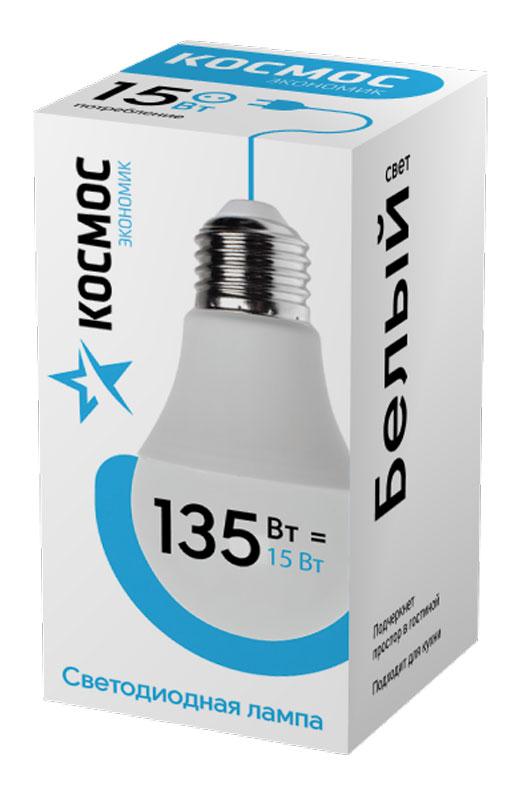 Лампа светодиодная Космос Экономик, 220V, А60, холодный свет, цоколь Е27, 15WLkecLED15wA60E2745Светодиодная лампа КОСМОС Замена стандартных ламп накаливания 135W Модель: А60 (ГРУША) Цоколь: Стандарт (Е27) Потребляемая мощность: 15W Световой поток, лм: 1500 Светодиоды: LED SMD 2835 Чип: Epistar Индекс цветопередачи: Ra>70 Напряжение: 220V Угол, град: 270 Размер лампы (мм): 60 х 110 Срок службы до 25 000 часов Температура использования -40+40С Цветность – 4500K Специальные возможности/особенности: СВЕТОДИОДНАЯ ЛАМПА А60 ( ГРУША ) 15 Вт серии Космос Экономик является аналогом лампы накаливания 135 Вт. В основе лампы используются чипы от мирового лидера Epistar- что обеспечивает надежную и стабильную работу в течение всего срока службы (25 000 часов). До 90% экономии энергии по сравнению с обычной лампой накаливания (сопоставимы по размеру); стабильный световой поток в течение всего срока службы; экологическая безопасность (не содержит ртути и тяжелых металлов); мягкое и равномерное распределение света повышает зрительный комфорт...