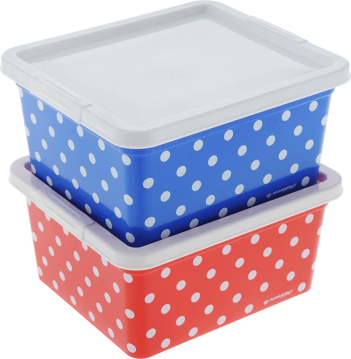 Набор контейнеров для хранения Полимербыт Горох, цвет: синий, красный, белый, 2 шт. SGHPBKP68SGHPBKP68Набор Полимербыт  Горох состоит из двух изготовленных из высококачественного пластика контейнеров для хранения мелочей. Изделие подойдет как для хранения канцелярии, так и для хранения швейных принадлежностей. Размер контейнера (без учета крышки): 18,5 х 16 см. Высота контейнера (без учета крышки): 9 см.