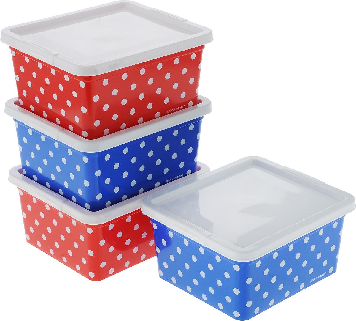 Набор контейнеров для хранения Полимербыт Горох, 4 шт. SGHPBKP69SGHPBKP69Комплект Полимербыт Горох состоит из четырех контейнеров для хранения различных мелочей и принадлежностей. Изделия оформлены оригинальным принтом. Контейнеры оснащены крышками, которые плотно закрывают изделия. Объём контейнеров: 1,9 л. Размеры контейнера: 18 х 15,5 х 8,5 см