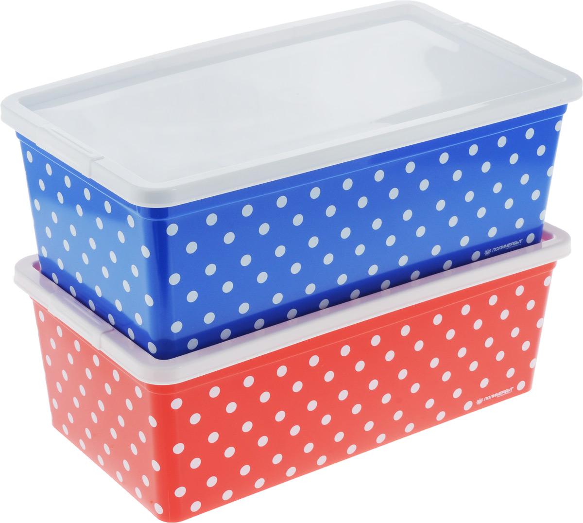 Набор контейнеров для хранения Полимербыт Горох, цвет: синий, красный, белый, 2 штSGHPBKP71Набор Полимербыт Горох состоит из двух контейнеров, которые выполнены из высококачественного пластика. Изделия оформлены принтом в горох. Контейнеры оснащены крышками, которые плотно закрывают изделия. Контейнеры очень вместительные и помогут вам хранить все необходимые мелочи в одном месте. Размер контейнера: 34 х 19 см. Высота контейнера: 12 см.