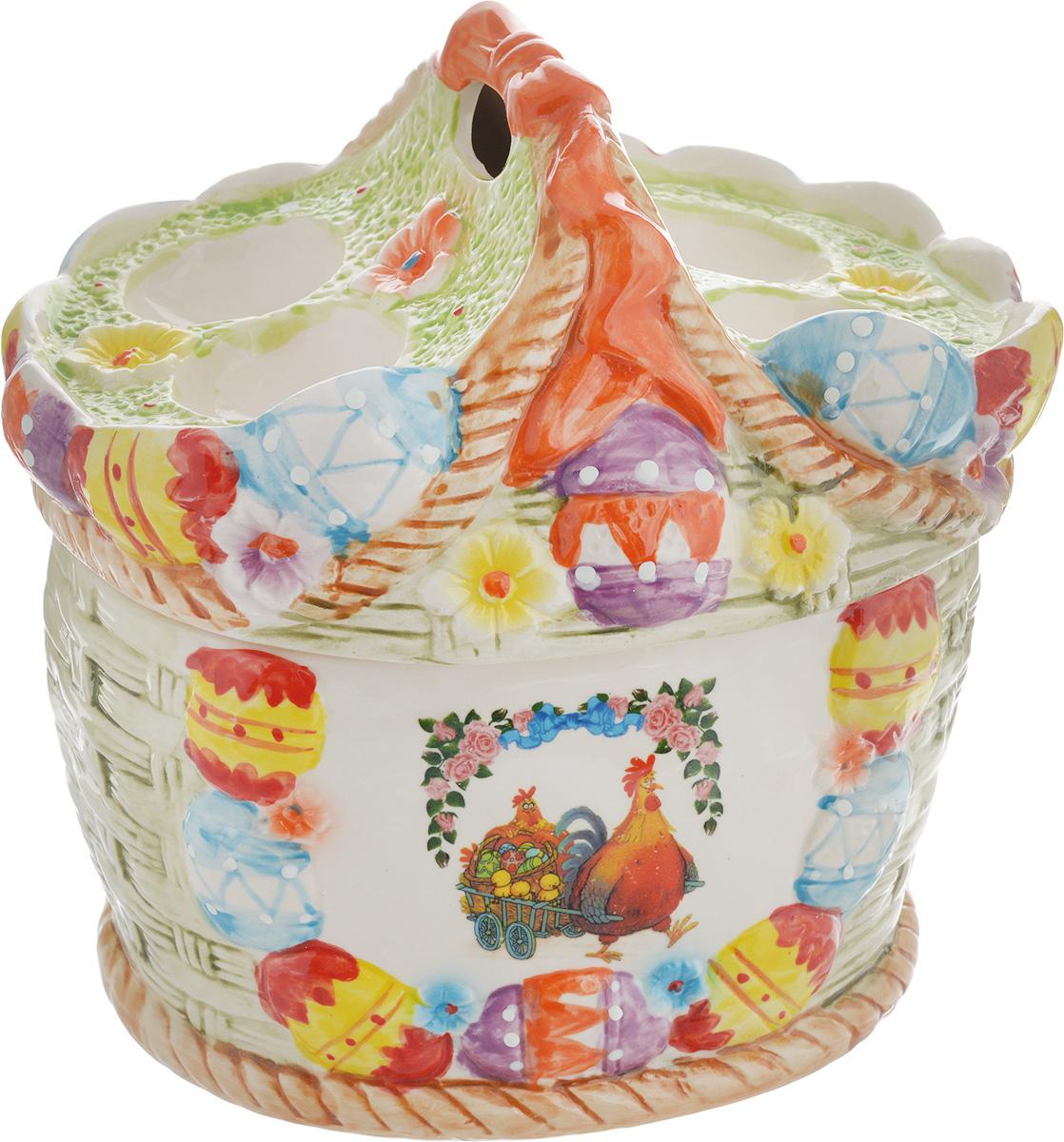 Ваза Win Max, для пасхальных яиц и угощений, 20 х 22 х 18 см14025Ваза Win Max изготовлена из высококачественной керамики с глазурованным покрытием и оформлена рельефным рисунком. Изделие дополнено крышкой, на которой расположены подставки для яиц. Крышка дополнена ручкой. Оригинальный дизайн украсит интерьер вашей кухни, а функциональность порадует любую хозяйку. Размеры емкости (без учета крышки): 19 х 16 х 11 см Высота крышки: 11 см
