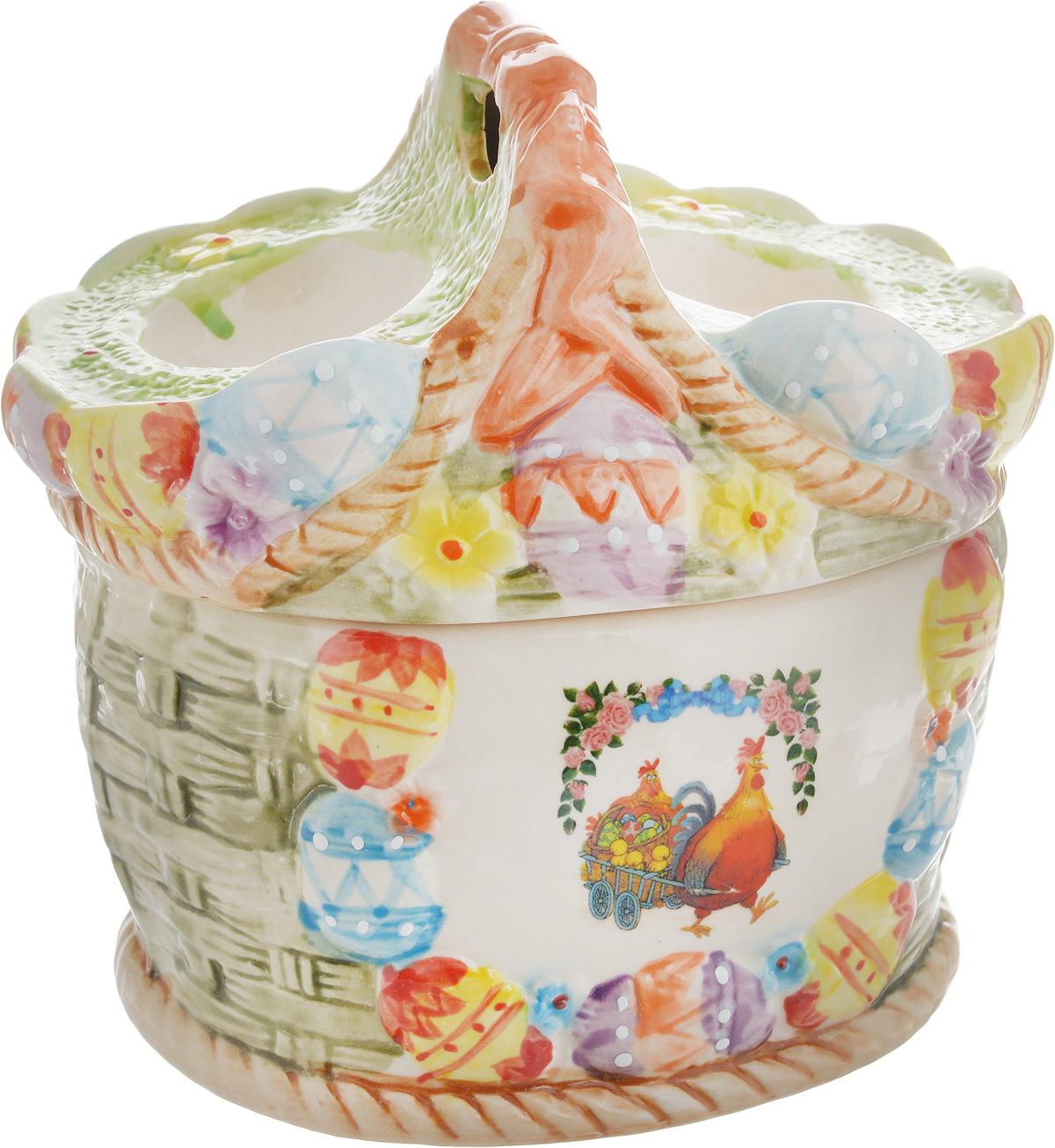 Ваза Win Max, для пасхальных яиц и угощений, 14 х 16 х 13 см14026Ваза Win Max изготовлена из высококачественной керамики с глазурованным покрытием и оформлена рельефным рисунком. Изделие дополнено крышкой, на которой расположены подставки для яиц. Крышка дополнена ручкой. Оригинальный дизайн украсит интерьер вашей кухни, а функциональность порадует любую хозяйку. Размеры емкости (без учета крышки): 15 х 12,5 х 9 см Высота крышки: 8,5 см