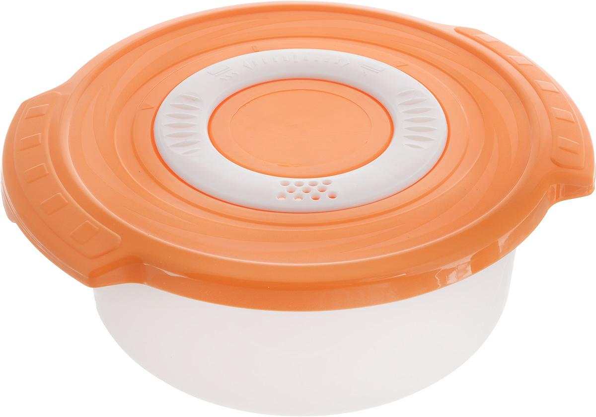 Кастрюля для СВЧ Plastic Centre Galaxy, цвет: оранжевый, 0,9 лПЦ2270_оранжевыйКруглая кастрюля для СВЧ Plastic Centre Galaxy изготовлена из высококачественного полипропилена, устойчивого к высоким температурам. Яркая цветная крышка плотно закрывается, дольше сохраняя продукты свежими и вкусными. Кастрюля снабжена паровыпускным клапаном, который можно регулировать. Кастрюля прекрасно подойдет для разогрева и приготовления пищи в СВЧ. Объем кастрюли: 0,9 л. Размеры кастрюли: 18,5 х 16,5 х 7,5 см.