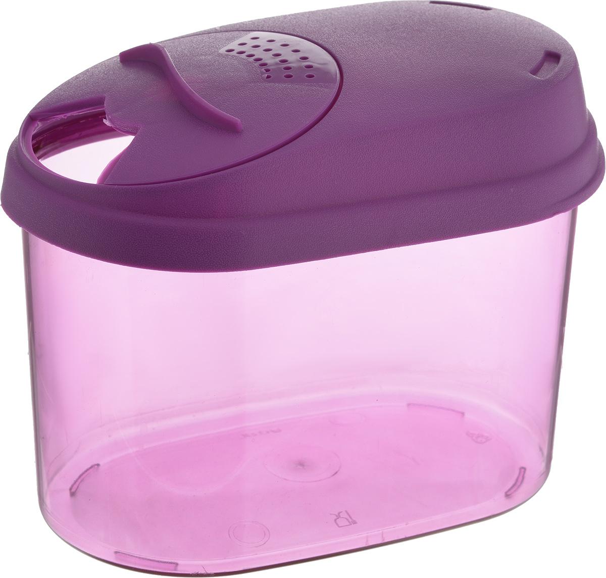 Банка для сыпучих продуктов Giaretti, с дозатором, цвет: фиолетовый, 0,8 лGR3610_фиолетовыйБанка для сыпучих продуктов Giaretti выполнена из высококачественного пластика. Банка предназначена для хранения круп, сахара, макаронных изделий и в том числе для продуктов с ярким ароматом (специи и прочее). Плотно прилегающая крышка не пропускает запахи содержимого в шкаф для хранения, при этом продукт не теряет своего аромата. Двойной дозатор предназначен для мелких и крупных сыпучих продуктов. Банки легко устанавливаются одна на другую. Можно мыть в посудомоечной машине. Объем: 0,8 л. Размер (по верхнему краю): 14,5 x 8,5 см. Высота (с учетом крышки): 11 см.