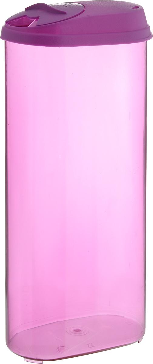 Банка для сыпучих продуктов Giaretti, с дозатором, цвет: фиолетовый, 2,4 лGR3612_фиолетовыйБанка для сыпучих продуктов Giaretti выполнена из высококачественного пластика. Банка предназначена для хранения круп, сахара, макаронных изделий и в том числе для продуктов с ярким ароматом (специи и прочее). Плотно прилегающая крышка не пропускает запахи содержимого в шкаф для хранения, при этом продукт не теряет своего аромата. Двойной дозатор предназначен для мелких и крупных сыпучих продуктов. Можно мыть в посудомоечной машине. Объем: 2,4 л. Размер (по верхнему краю): 14,5 x 8,5 см. Высота (с учетом крышки): 30 см.