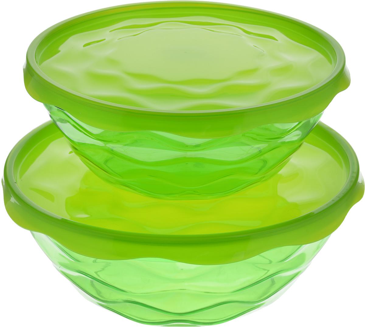 Набор салатников Giaretti Riva, с крышками, цвет: зеленый, 2 штGR1837_зеленыйНабор Giaretti Riva, состоящий из двух салатников разного объема с плотно закрывающимися крышками, сочетает в себе изысканный дизайн с максимальной функциональностью. Салатники выполнены из высококачественного пластика. Такой набор прекрасно подходит как для хранения продуктов в холодильнике, так и для сервировки стола. Можно мыть в посудомоечной машине. Объем салатников: 2,5 л; 4 л. Диаметр салатников (по верхнему краю): 23 см; 27 см. Высота стенок салатников: 8,5 см; 10 см. Диаметр крышек: 24,3 см; 28,3 см.