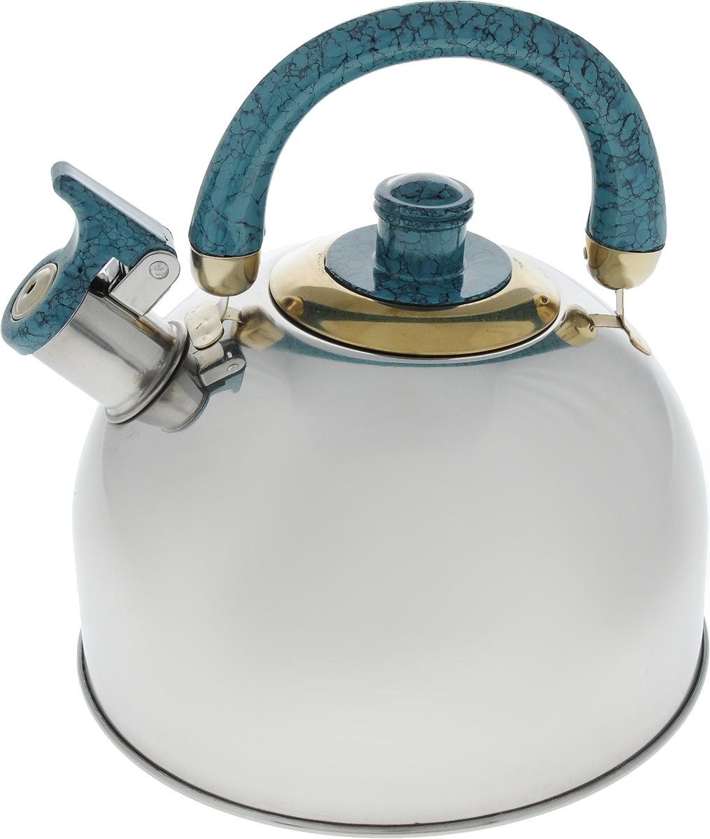 Чайник Mayer & Boch, цвет: стальной, бирюзовый, золотой, 4 л. 1046A1046A_стальной, бирюзовый, золотойЧайник Mayer & Boch изготовлен из высококачественной нержавеющей стали с зеркальной полировкой, что делает его весьма гигиеничным и устойчивым к износу при длительном использовании. Гладкая и ровная поверхность существенно облегчает уход за посудой. Выполненный из качественных материалов чайник при кипячении сохраняет все полезные свойства воды. Носик чайника имеет откидной свисток, звуковой сигнал которого подскажет, когда закипит вода. Крышка, свисток и ручка выполнены из бакелита. Классический дизайн чайника Mayer & Boch дополнит любую кухню. Подходит для использования на всех типах кухонных плит, кроме индукционных. Высота чайника (с учетом ручки): 21 см. Высота чайника (без учета ручки и крышки): 12 см. Диаметр по верхнему краю: 8,5 см.