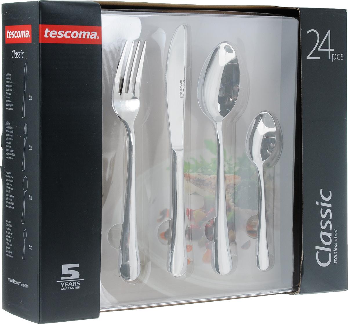 Набор столовых приборов Tescoma CLASSIC, 24 шт391406Столовые приборы Tescoma CLASSIC выполнены из нержавеющей стали. Полированная поверхность износостойка, гигиенична и легко поддается очистке. разрешено мыть в посудомоечной машине. В набор входит: 6х нож 22 см, 6х вилка 20,5 см, 6х ложка 20,5 см, 6х чайная/кофейная ложка 14,5 см.