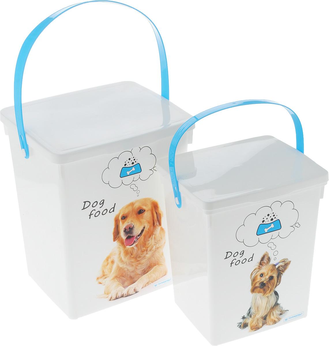 Комплект контейнеров для корма животных Полимербыт, 2 шт. SGHPBKP53SGHPBKP53Комплект Полимербыт состоит из двух контейнеров для хранения корма для животных, которые выполнены из пластика и оформлены оригинальным рисунком с изображением собак. Контейнеры оснащены подвижными ручками и крышками, которые плотно закрывают изделие. Многофункциональная вещь, которая пригодиться в быту для любых случаев. Удобные контейнеры в использование и хранении. Объём контейнеров: 5 л; 8,5 л.