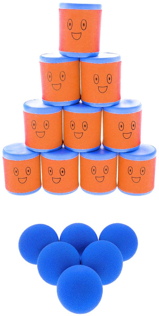 Safsof Игровой набор Городки цвет оранжевый голубой
