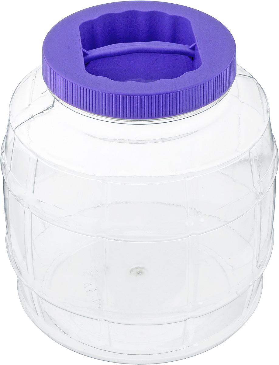 Емкость для сыпучих продуктов Альтернатива Бочонок, 3 лМ677_прозрачный, фиолетовыйЕмкость Альтернатива Бочонок изготовлена из качественного пластика и оснащена пластиковой закручивающейся крышкой. Изделие выполнено в форме бочонка с прозрачными стенками, что позволяет видеть содержимое. В такой удобной емкости можно хранить макароны, крупы, сахар, соль и многое другое. Крышка дополнена небольшой пластиковой ручкой. Высота емкости: 18,5 см. Диаметр по верхнему краю: 10 см. Диаметр дна: 15 см.