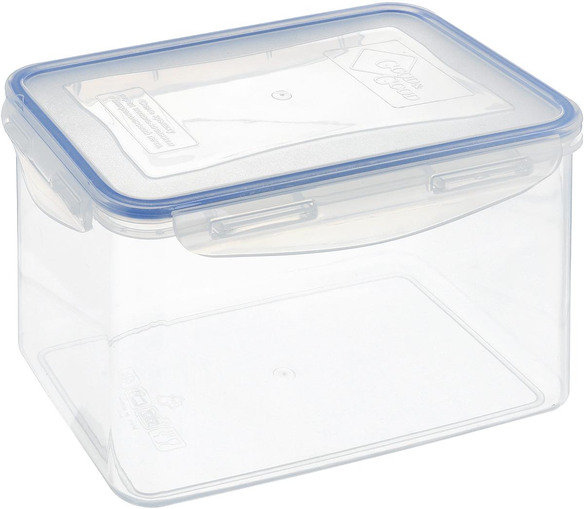 Контейнер Good&Good, цвет: прозранчый, синий, 2,2 лB/COL 3-3Контейнер  Good&Good изготовлен из высококачественного пластика. Изделие идеально подходит не только для хранения, но и для транспортировки пищи. Контейнер имеет крышку, которая плотно закрывается на 4 защелки и оснащена специальной силиконовой прослойкой, предотвращающей проникновение влаги, запахов и вытекание жидкости. Изделие подходит для домашнего использования, для пикников, поездок, отдыха на природе, его можно взять с собой на работу или учебу. Выдерживают температуру от -24°С до +125°С. Можно использовать в СВЧ-печах, холодильниках и морозильных камерах. Можно мыть в посудомоечной машине. Размер контейнера (без учета крышки): 18 х 12 см. Высота контейнера (без учета крышки): 12 см.