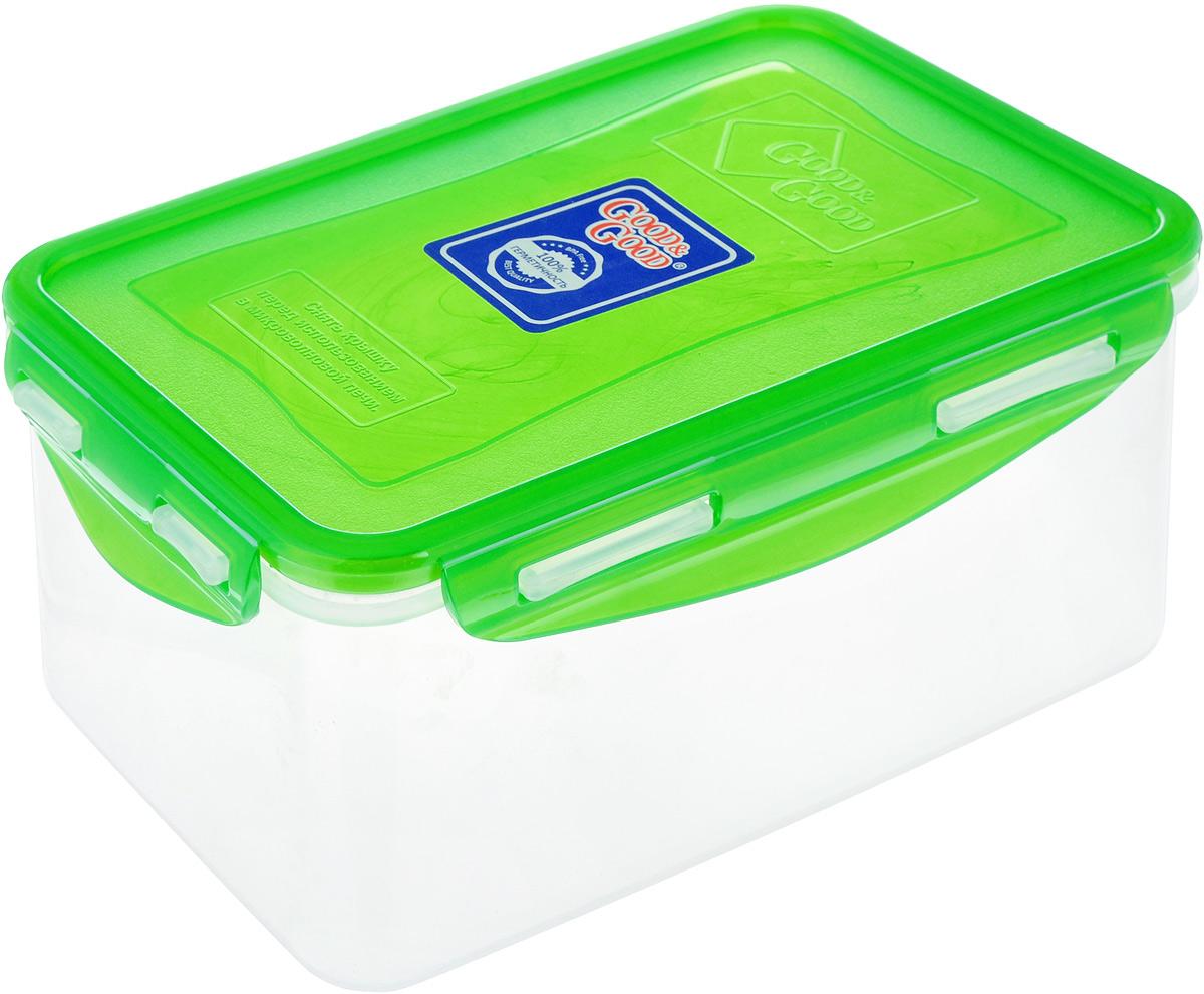 Контейнер Good&Good, цвет: прозрачный, зеленый, 1,5 л. B/COL 3-2B/COL 3-2Контейнер  Good&Good изготовлен из высококачественного пластика. Изделие идеально подходит не только для хранения, но и для транспортировки пищи. Контейнер имеет крышку, которая плотно закрывается на 4 защелки и оснащена специальной силиконовой прослойкой, предотвращающей проникновение влаги, запахов и вытекание жидкости. Изделие подходит для домашнего использования, для пикников, поездок, отдыха на природе, его можно взять с собой на работу или учебу. Выдерживают температуру от -24°С до +125°С. Можно использовать в СВЧ-печах, холодильниках и морозильных камерах. Можно мыть в посудомоечной машине. Размер контейнера (без учета крышки): 18 х 11,5 см. Высота контейнера (без учета крышки): 8,5 см.