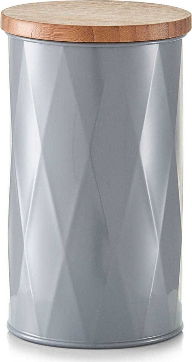 Банка для сыпучих продуктов Zeller, цвет: серый, светлое дерево, диаметр 123 мм, высота 203 мм19325