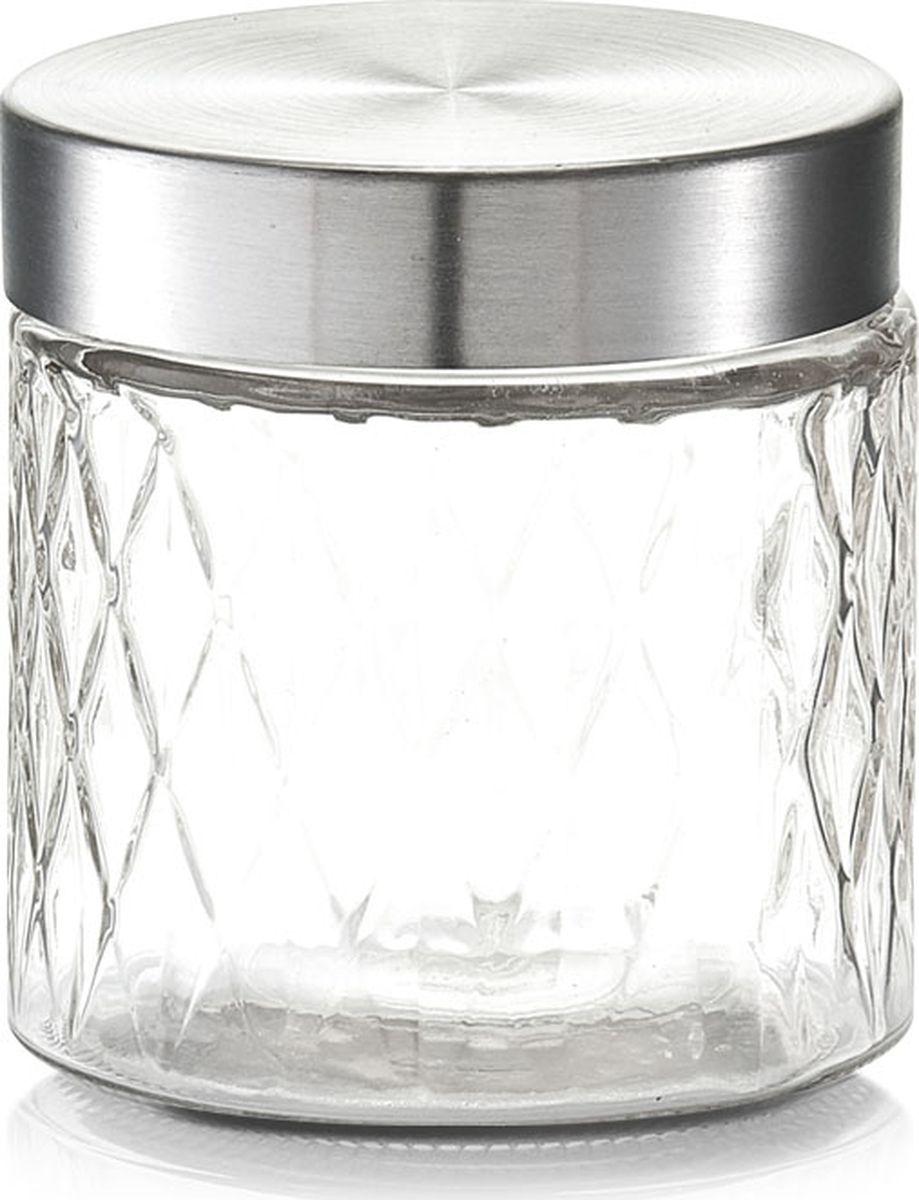 Банка для сыпучих продуктов Zeller, цвет: прозрачный, серый, 750 мл19690