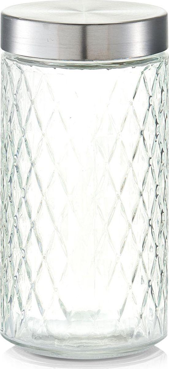 Банка для сыпучих продуктов Zeller, цвет: прозрачный, серый, 1500 мл19692